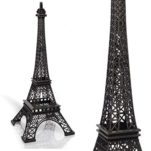 TCDesignerProducts Black Resin Eiffel Tower Centerpiece, 15 Inches High, Paris Themed Table Decoration ()