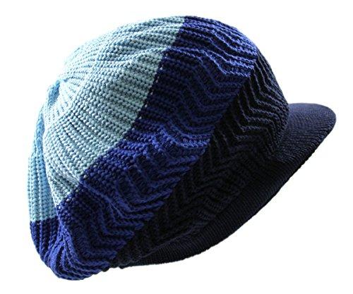 RW Knitted Cotton Rasta Slouchy Beanie Visor (Sky Blue/Blue/Navy)