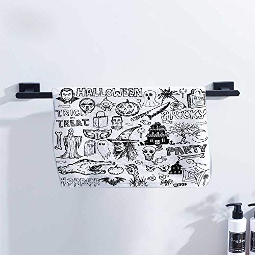 Vintage Halloween Microfiber Hair Towel Hand Drawn Halloween Doodle Trick or Treat Party Severed Hand Design for Family Guest Bathrooms Gym W14 x L14 Black White