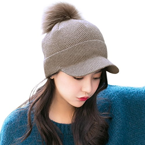 Wool Knitted Newsboy Cap Pom Beanies with Visor Bill Cold Weather Winter Hat Ladies Cuff Beret -