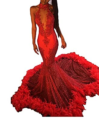 alilith.Z Stunning Halter Open Neck Appliques Featherr Evening Party Dresses Sexy Mermaid Long Prom Dresses For Women 2018