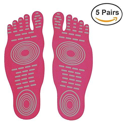 Adhesive Pad, Unsichtbare Schuhe für Wasser, Barfuß Schuhe, Nakefit Stick auf Fuß Sohlen mit Anti-Rutsch-und wasserdichtes Design für Barfuß Liebhaber, Sommer Aktivitäten Rose rot (5 Paar)