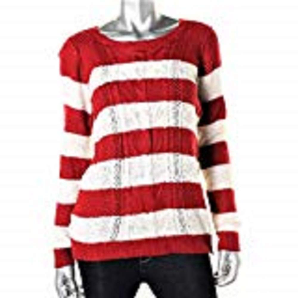 PINK ROSE Women's Designer Red & White Striped Cotton/Acrylic Knit Sweater TOP SZ S New with Tags