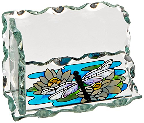 Joan Baker Designs Dragonfly/Water Lilies Art Glass Business Card Holder -