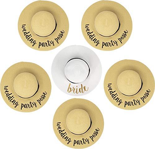 H-2017-6-BWG.5WPP Sun Hat Bundle - Bride (white) 5 Wedding Party Posse