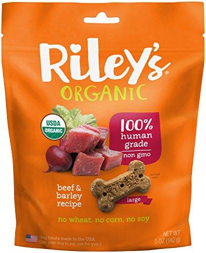 Riley's Organics Beef & Barley - 5 oz Small Biscuits - Human Grade Organic Dog Treats - Resealable Bag