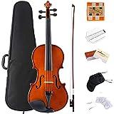 ADM Violin 1/2 Half Size Solidwood Ebony Pegs Violin Beginner Student Advanced Kit with Violin Case, Ebony Frog Violin Bow and Rosin, etc
