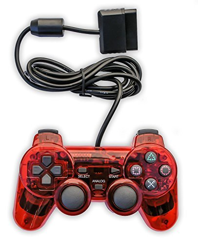 Donop® Wired Red Game Pad Game Gaming Controller Joypad Gamepad Console Controller Joysticks Compatible with Sony Playstation 2 Ps2 w/ Dual Shock Dual Vibration Feedback Motors Easy - Phone Store Microsoft Number Uk