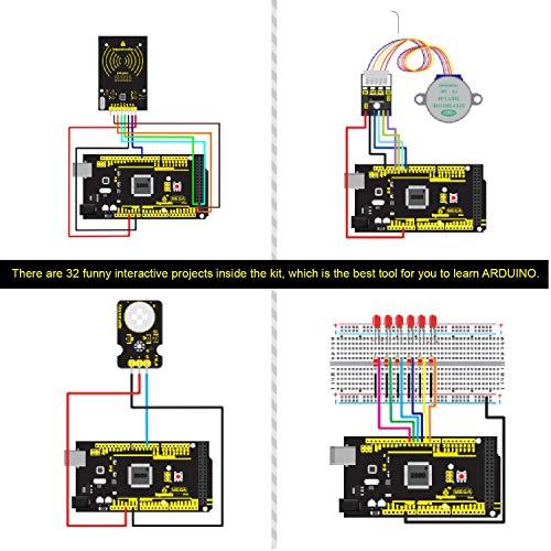 KEYESTUDIO Starter Kit de Arduino con Guías Tutorial, Placa Controladora MEGA 2560 Mega Kit, Sensor Ultrasónico, Pantalla LCD1602, Servomotor, ...