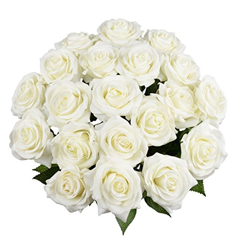10 Pcs Real Touch Silk Artificial Rose Flowers Silk Gluing PU Fake Flower Home Decorations for Wedding Party or Birthday Garden Bridal Bouquet Flower Saint Valentine's Day Gifts Party Event(White) (Silk Small Flowers White)