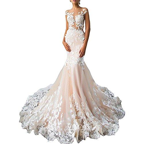 Alanre Backless Bridal Gowns 2017 Flower Lace Wedding Dresses for Bride Mermaid Dress