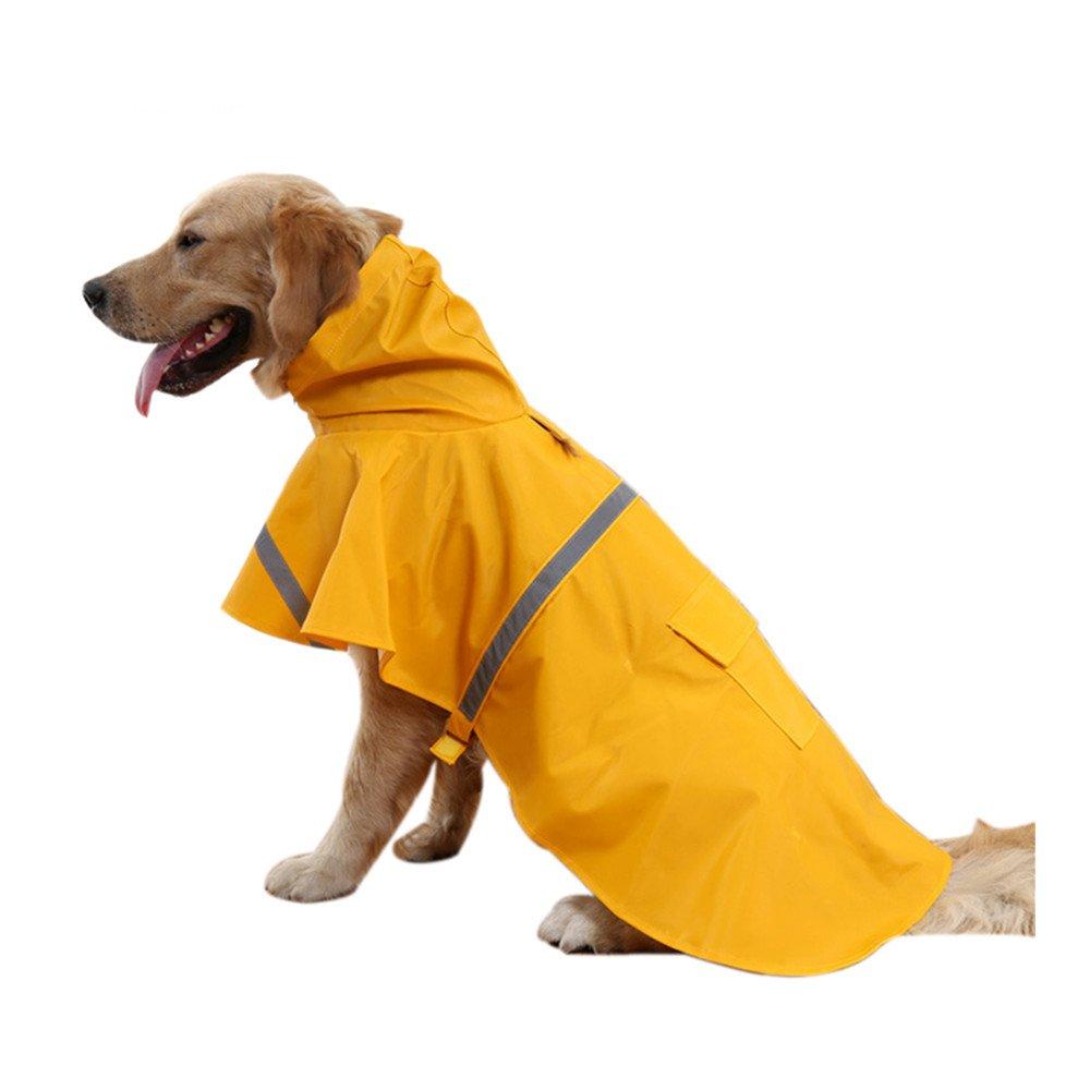 DIGIFLEX Reflective Yellow Water-Resistant Doggy Rain Coat for Medium Breed Dog All Weather Walks