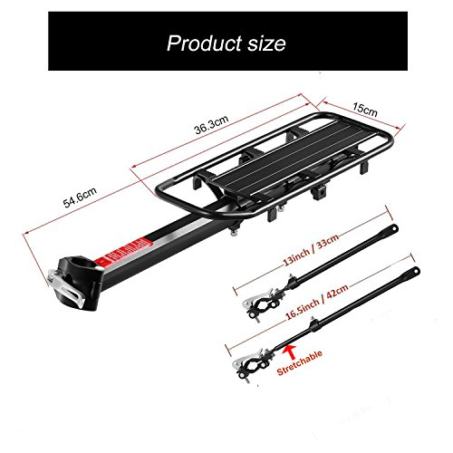 Bicycle Cargo Rack, Universal Adjustable Bike Carrier Rack Quick Release Luggage Cargo Rack Load 110 Lbs Bicycle Pannier Accessories with Reflector for 24''-29'' Frames by Calar (Image #4)