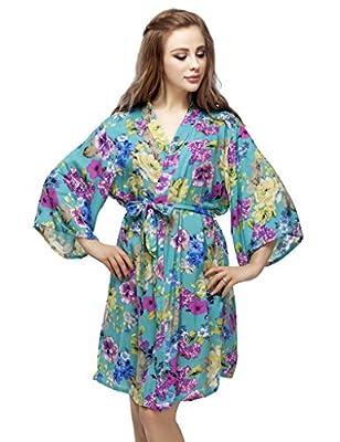 Skyfitting Women's Cotton Kimono Robe, Floral Bridesmaid Robes, Short Bathrobe