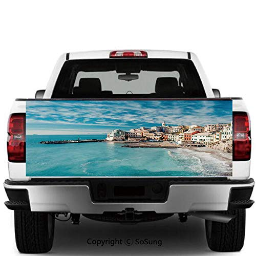 SoSung Farm House Decor Vinyl Wall Stickers,Panorama of Old Italian Fish Village Beach Old Province Coastal Charm Image Cars Trucks Decorative Decal Sticker,55x15 Inches,Turquoise