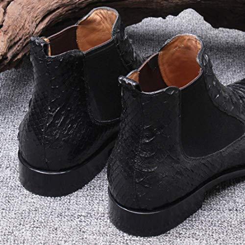 Stivali Stivali da Antiscivolo Stile Britannico Stivali Uomo Stivali Comfort da Tacco Basso Uomo Black in Piattaforma Pelle Casual Corti Exxq06H