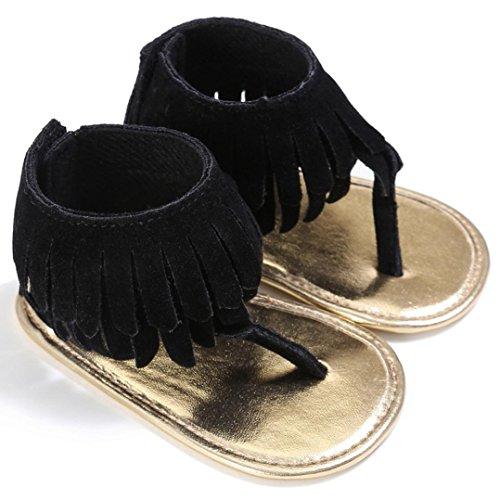 OverDose Kleinkind Mädchen Sommer Sandalen Krippe Schuhe Neugeborene Blume Soft Sohle Anti-Rutsch Baby Sneakers PU Leder Sandalen A-Schwarz-Flock