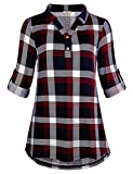 Cestyle Long Sleeve Shirts for Women,Loose Tunic Blouse Plaid Collared Casual V Neck Easy Fit Curved Hem Stylish Buffalo Check Comfy Travel Clothes Blue&Red X-Large