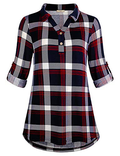 Cestyle Business Casual Top for Women,Long Sleeve Tunic Tartan Lapel Collar Button Down Form Fitting Soft Knit Multi Color Peasant Blouse Grid Shirt Blue&Red Large - Multi Color Plaid Shirt