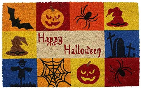 Natural Coir Coco Fiber Non-Slip Outdoor Indoor Halloween Doormat, 18×30 , Heavy Duty Entry Way Shoes Scraper Patio Rug Dirt Debris Mud Trapper Waterproof-Happy Halloween