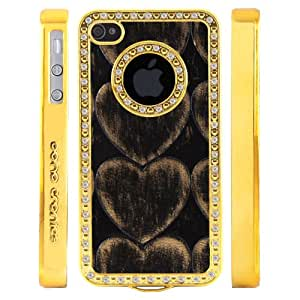 Boho Tronics TM Custom Luxury Bling Logo Case with PU Leather Heart Inlay - Compatible with Apple iPhone 4 4S - Gold With Silver Rhinestones with Black Copper Insert