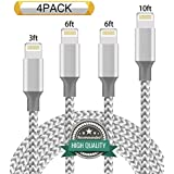 Youer Phone Cable 4Pack 3FT 6FT 6FT 10FT Nylon Braided USB Charging & Syncing Cord Compatible with iPhone X iPhone 8 8 Plus 7 7 Plus 6s 6s Plus 6 6 Plus iPad iPod Nano - Grey White