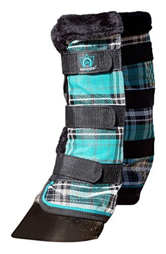 Kensington Horse Fly Boots with Comfortable Fleece Trim — Stay-Up Technology with Velcro Straps — Protection from Insect Bites and UV Rays — Sold in Pairs of 2 (Black Ice Plaid)