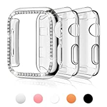 Bekomo [3-Pack] Compatible for Apple Watch Case 38mm,Women Girls 1 Pack Bling PC Full Cover Bumper & 2Pack TPU Screen Protector Cover Replacement for iWatch Series 3/2/1(Sliver+Clear+Clear).