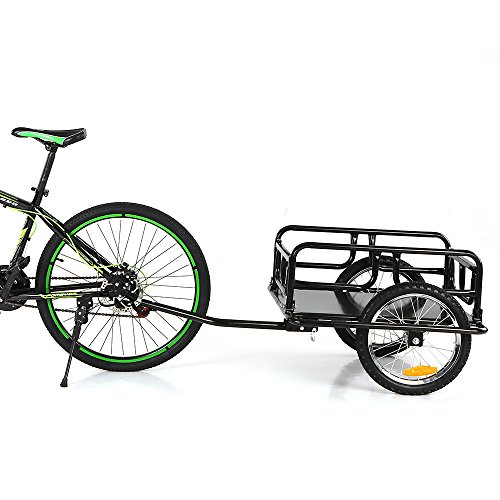 IKAYAA Folding Bike Cargo Trailer Hand Wagon Bicycle Luggage Trailer Storage Cart Carrier with Detachable Metal Frame Hitch by IKAYAA (Image #9)