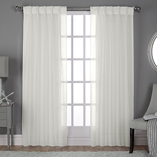 Exclusive Home Belgian Pinch Pleat Textured Linen Look Jacquard Sheer Window Curtain Panel Pair Top, 30x108, Snowflake, 2 Piece