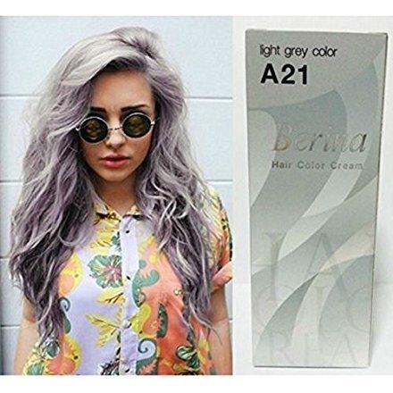 Pack of 1 Box Berina Light Gray Hair Dye A21 Hair Color Cream Dye Light Grey 60 G. Super Permanent Fashion (Dye Hair Gray Halloween)