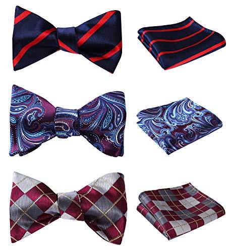 HISDERN 3pcs Mixed Design Classic Men's Self-Tie Bow tie & Pocket Square - Multiple ()