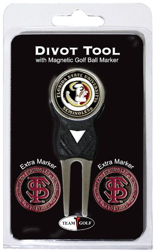 Team Golf NCAA Florida State Seminoles Divot Tool with 3 Golf Ball Markers Pack, Markers are Removable Magnetic Double-Sided Enamel