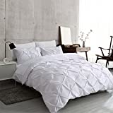 Ucharge Unique Pinch Pleat Pintuck Duvet Cover Set,3 Pieces Decorative Stylish Brushed Microfiber Bedding Set With Zipper and Corner Ties (King White)
