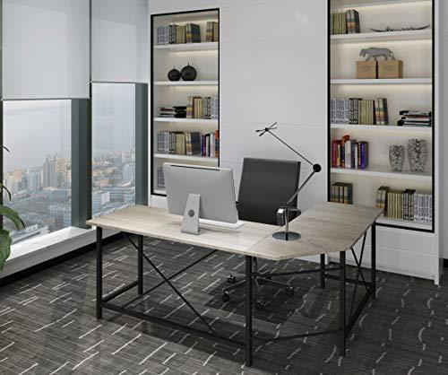 (Modern Computer Desk L Shaped Corner Desk Home Office Desks,More Stable Structure,Design by Ulikit (Grey Grain))