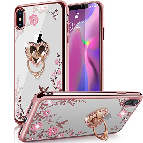 - iPhone Xs Max Case,WATACHE Glitter Sparkly Diamond Secret Garden Floral Butterfly Clear Back Soft TPU Case with Bling Shiny Rhinestone Ring Grip Holder Stand for iPhone Xs Max (6.5