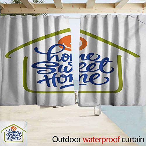AndyTours Rod Pocket Top Blackout Curtains/Drapes,Home Sweet Home Hand Drawn House Outline with a Orange Dot and Lettering,Simple Stylish Waterproof,W72x63L Inches,Olive Green Orange Navy Blue ()