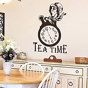 Wall Decal Decor Mad Hatter Tea Party Alice In Wonderland Quote Time