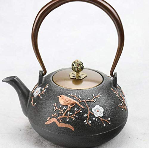 (RUIKA Japanese tetsubin Cast Iron Teapot Gold Magpie and Plum blossom pattern Kettle 1200ml 40)