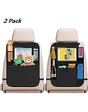2 Stück Auto Rückenlehnenschutz, Auto Rücksitz-Organizer Kick-Matten-Schutz für Kinder, Wasserdicht Autositz-Schoner mit Extra Großen iPad-Tablet-Halter und Große Taschen Rückenlehnen für Autositz