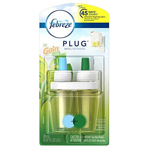 Car Scented Oil Refill (Febreze Air Freshener, Noticeables Air Freshener, Refill Gain Original Air Freshener (0.879 Fl Oz) (Pack of 8))