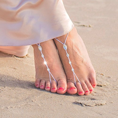 Simple Barefoot Sandals with Swarovski Crystals, Bridal Foot Jewelry for a Beach (Crystals Jewellery Jewelry)