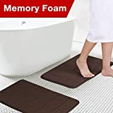 Soft Non Slip Absorbent Bath Rugs, Memory Foam Two Pieces Bath Mats by FlamingoP (Brown Striped Pattern, Size:W17 xL24)