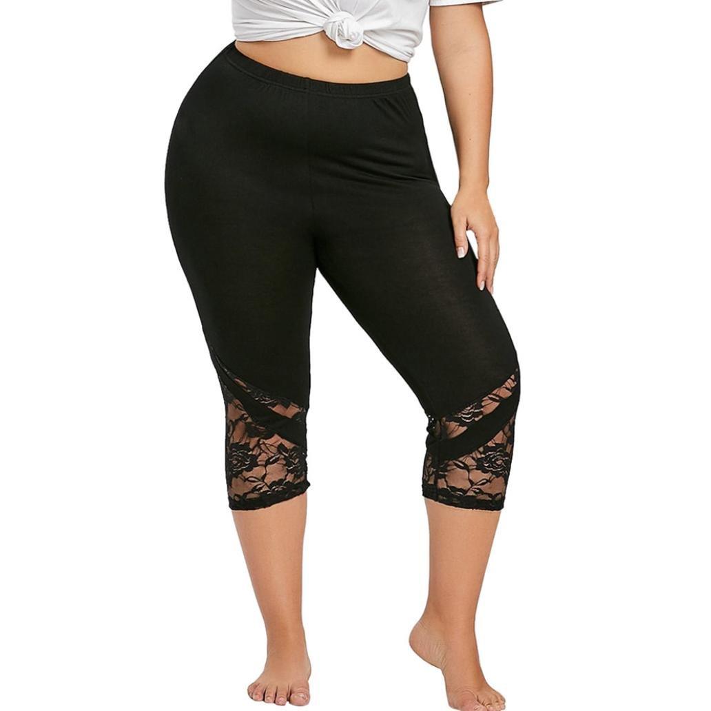 Toamen Femmes Pantalon de yoga Pantalons moulants Dentelle Leggings Pantalons Grande taille Leggings en dentelle Fleurs Mode (XXXL, Noir) Toamen Pantalon