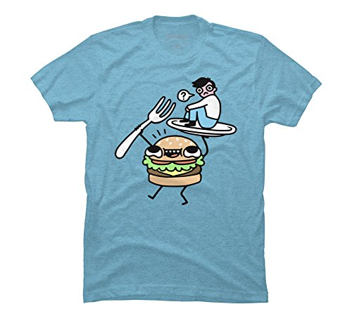 Design By Humans Dinner is Served! Men's 2X-Large Sky Blue Heather Graphic T Shirt