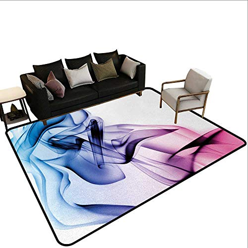 (Super Cozy Bathroom Rug Carpet Abstract,Abstract Artwork with Colorful Smoke Dynamic Flow Swirl Contemporary Artwork,Fuchsia Blue,for Living Room Bedrooms Kids Nursery Home Decor 3'x 5')