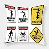 iPrint Polyester Throw Pillow Cushion Cover,Zombie Decor,Warning Signs for Evil Creatures Paranormal Construction Do Not Open Artwork,Multicolor,Decorative Square Accent Pillow Case