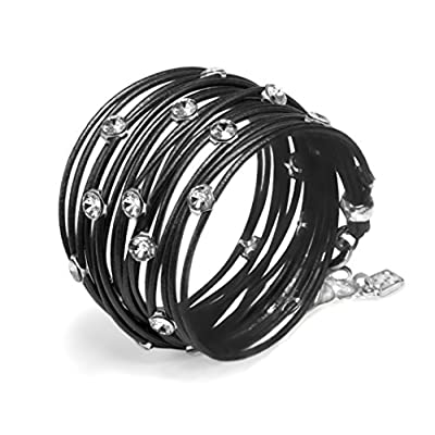 new Black Leather, Wrap Bracelet,Handmade with Stunning Clean Look Also turn into Necklace with Swarovski Crystals Plated Pendant Elements, Jewelry for Women design by SEA Smadar