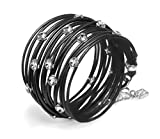 Black Leather, Wrap Bracelet,Handmade with Stunning Clean Look Also turn into Necklace with Swarovski Crystals Plated Pendant Elements, Jewelry for Women design by SEA Smadar