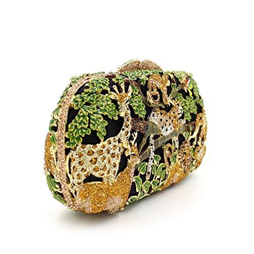 de de métal de de diamant forêt de A dîner de Sac Sac Sac creux animale luxe main de cristal à strass fcHnF7Ux